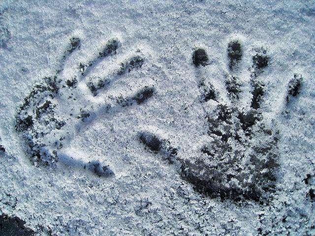 Frosty hand prints