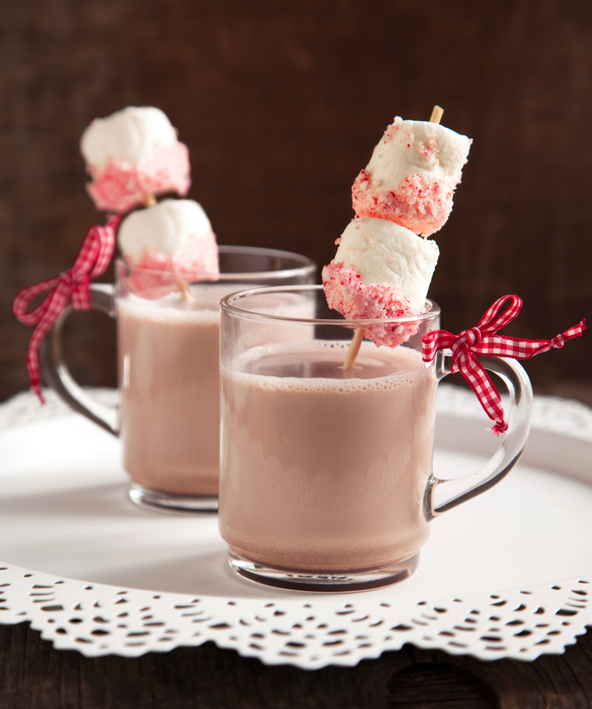 Hot chocolate with peppermint candies coated marshmallow